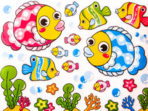 Sticker. Set of Cute cartoon fishes Stock Photography