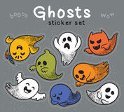 Sticker set of cute cartoon ghosts with different facial expressions. Royalty Free Stock Images