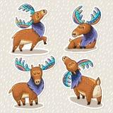 Sticker set of cute cartoon hand drawn elks Stock Images