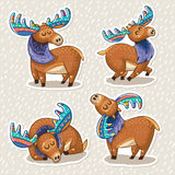 Sticker set of cute cartoon hand drawn elks. Collection of stickers with cute hand drawn mooses in cartoon style. Elks with rainbow antlers. Character design set Stock Photo