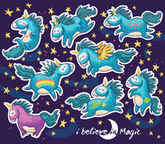 Sticker set of cute cartoon unicorn with rainbow and stars Royalty Free Stock Photos