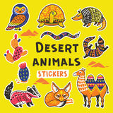 Sticker set with desert animals Stock Images