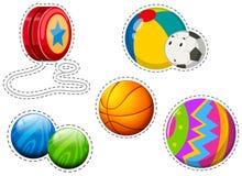 Sticker set of different balls Stock Image