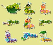 Sticker set with different color caterpillars. Illustration Royalty Free Stock Photo