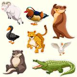 Sticker set with different creatures. Illustration Royalty Free Stock Images