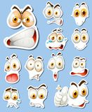 Sticker set with different faces. Illustration Stock Photo
