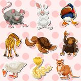 Sticker set with different kinds of animals. Illustration Royalty Free Stock Photos