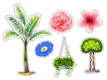 Sticker set with different kinds of plants. Illustration Royalty Free Stock Photo