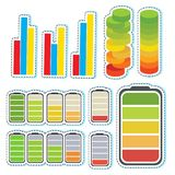 Sticker set with different levels of bars. Illustration Royalty Free Stock Image