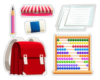 Sticker set of different stationaries. Illustration Royalty Free Stock Photos