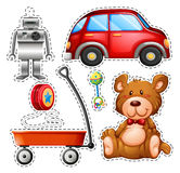 Sticker set of different toys. Illustration Royalty Free Stock Photography