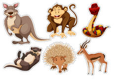 Sticker set with different types of animals. Illustration Royalty Free Stock Image