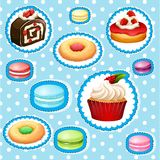 Sticker set with different types of desserts. Illustration Stock Photo