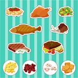 Sticker set with different types of food. Illustration vector illustration