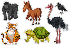 Sticker set with different wild animals. Illustration Stock Photography