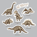 Sticker set of dinosaur skeletons in cartoon style. Collection of stickers with fossil dinosaurs in cartoon style. Cartoon fossil dinosaurs set sticker. Vector Stock Image