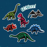 Sticker set of dinosaur skeletons in cartoon style. Collection of stickers with fossil dinosaurs in cartoon style. Cartoon fossil dinosaurs set sticker. Vector Royalty Free Stock Image