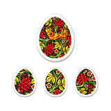 Sticker Set of eggs is painted with a flower pattern. Russian na Royalty Free Stock Photo