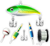 Sticker set of fishing equipment Royalty Free Stock Images