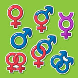 Sticker set of gender symbols Stock Images