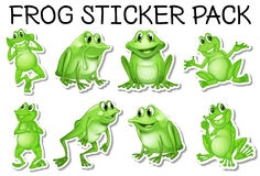 Sticker set of green frogs Royalty Free Stock Images