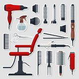 Sticker set of hairdresser objects in flat style on gray background. Hair salon equipment and tools, hairdryer, comb Stock Image