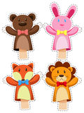 Sticker set with hand puppets Royalty Free Stock Photo