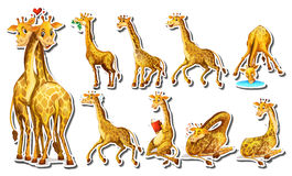 Sticker set with happy giraffe Royalty Free Stock Images