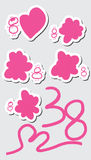 38 sticker set. This illustration is painting and design International Women's Day March 8 with sticker write template on grey color background stock illustration