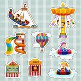 Sticker set for kids playing on rides Royalty Free Stock Photography