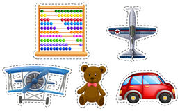Sticker set of many toys. Illustration Royalty Free Stock Photography