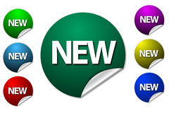 Colorful new graphics. Colorful illustrated circles with white text graphics new on white Stock Photos