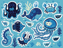 Sticker set of ocean animals in cartoon style Stock Photography