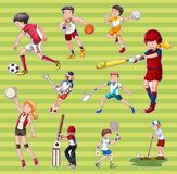 Sticker set with people playing different types of sports. Illustration stock illustration