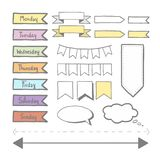 Sticker set for planner. Set of sticker doodle or hand hrawing for planner diary stock illustration