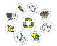 Sticker set with recycle sign vector illustration. Clothes, energy-saving lamp, package box, cardboard package elements with recycle label hand drawn concept Royalty Free Stock Images