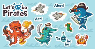 Sticker set of underwater pirates in cartoon style Stock Photos