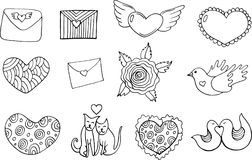 Sticker set for Valentine`s Day - coloring page. Doodle cartoon Stock Images