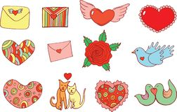 Sticker set for Valentine`s Day. Doodle cartoon isolated set wit Stock Images