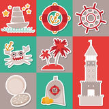 Sticker set Vintage nautical card and seamless pattern with sea animals, boats, lighthouse. cute sea objects collection. Vector Royalty Free Stock Images