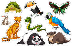 Sticker set of wild animals. Illustration Royalty Free Stock Images