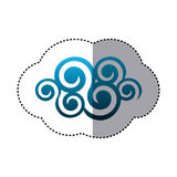 Sticker shading blue cloud spirals and swirls shape. Illustration Stock Images