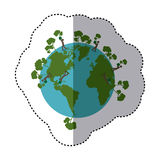 sticker shading colorful earth world with people planting trees Royalty Free Stock Image