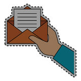 Sticker shading hand holding Blank paper envelopes opened with sheet Royalty Free Stock Photo