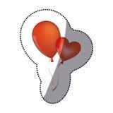 Sticker shading red balloons Flying romantic celebration. Illustration Stock Images