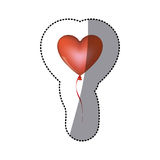 Sticker shading red heart shape balloon with ribbon Royalty Free Stock Photo