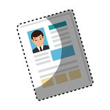 Sticker shading side view file info with curriculum vitae sheet Royalty Free Stock Photos