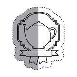 sticker shading silhouette border heraldic decorative ribbon with teapot Royalty Free Stock Photo