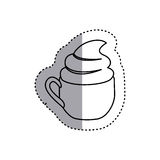 Sticker shading silhouette cup of cappuccino with cream. Illustration Royalty Free Stock Photography