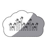 sticker shading silhouette set hands up and opened icon Royalty Free Stock Photography